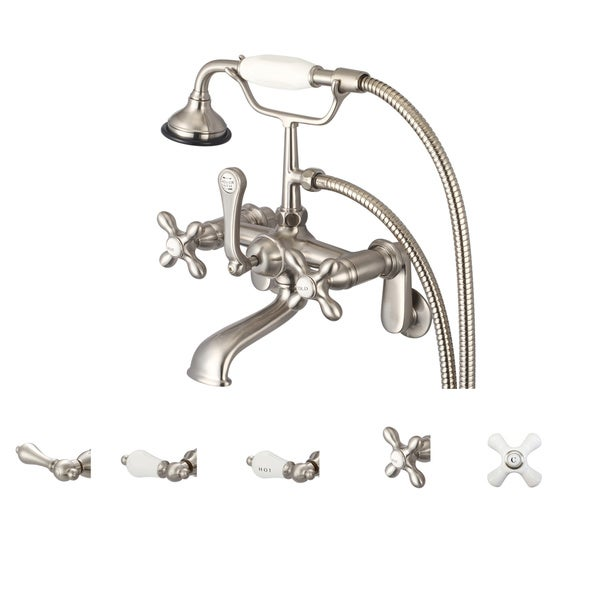 Water Creation Classic Brushed Nickel Adjustable Center Wall Mount Tub Faucet With Swivel Wall Conne 10059908