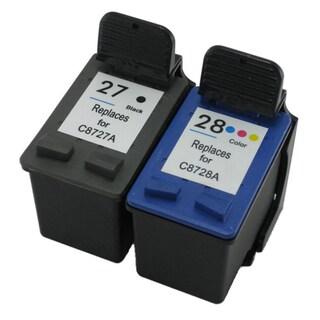 HP 27 28/ C8727AN C8728AN Black Color Ink Cartridge Set (Remanufactured)