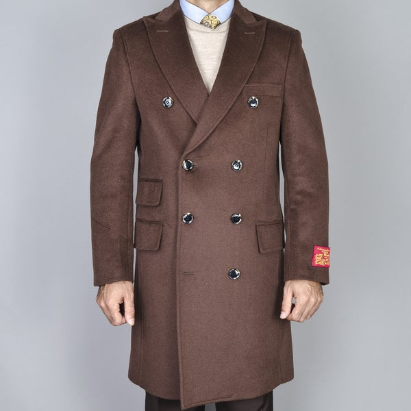 Men's Chestnut Wool-cashmere Double-breasted Topcoat