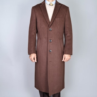Chestnut Wool and Cashmere Single Breasted Topcoat