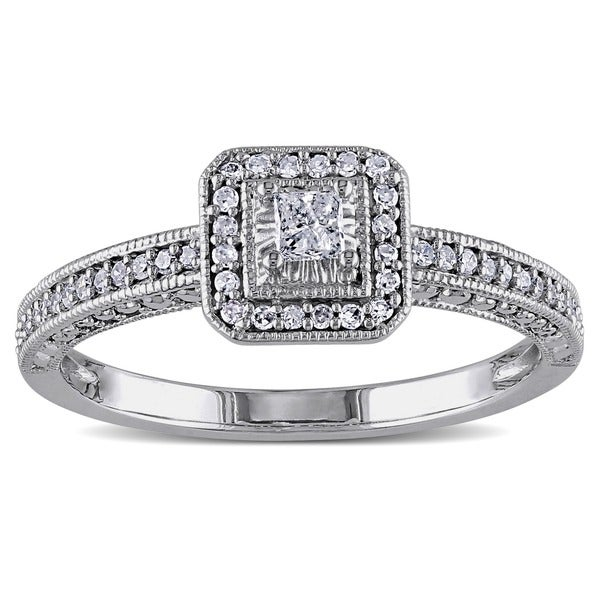Miadora 10k White Gold 1/4ct TDW Diamond Promise Halo Ring (G-H, I1-I2)