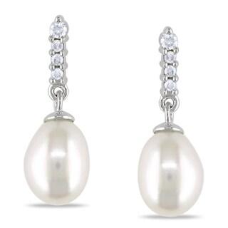 Miadora 14k White Gold Freshwater Pearl and Diamond Earrings (H-I, I1-I2)