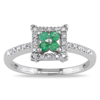 Miadora 14k White Gold Emerald and Diamond Cluster Ring (G-H, I1-I2)