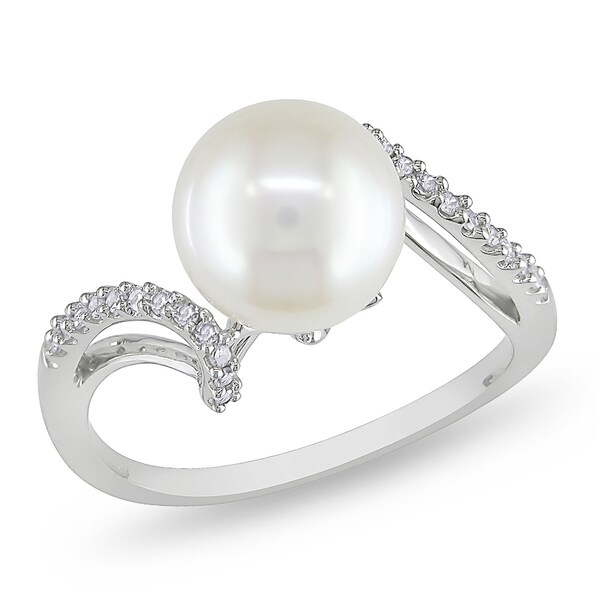 Miadora 14k White Gold Pearl and 1/10ct TDW Diamond Ring (G-H, I1-I2)