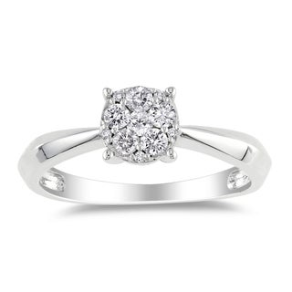Miadora 14k White Gold 1/4ct TDW Cluster Diamond Ring (G-H, I1-I2)