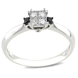 Miadora 14k White Gold 1/3ct TDW Black and White Diamond Ring (G-H, I1-I2)