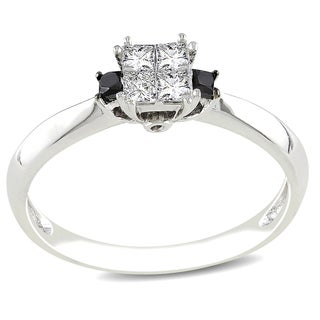 Miadora 14k White Gold 1/3ct TDW Black and White Diamond Ring (G-H, I1-I2) with Bonus Earrings
