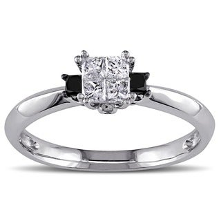 Miadora 14k White Gold 1/3ct TDW Black and White Diamond Engagement Ring (G-H, I1-I2)