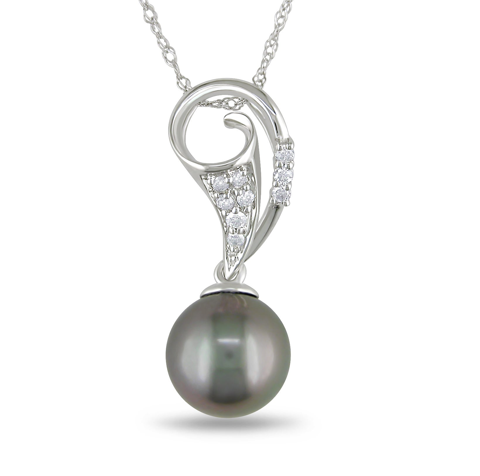 Miadora 14k White Gold Tahitian Pearl and 1/10ct TDW Diamond Necklace (G-H, I1-I2)