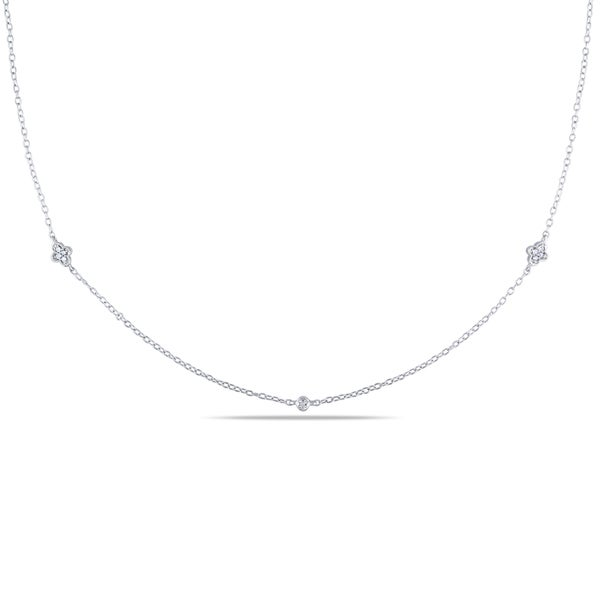 M by Miadora Sterling Silver 1/10ct TDW Diamond Bezel Station Necklace