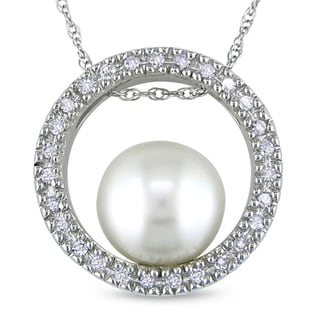 Miadora 10k White Gold Pearl and 1/5ct TDW Diamond Necklace (H-I, I2-I3)