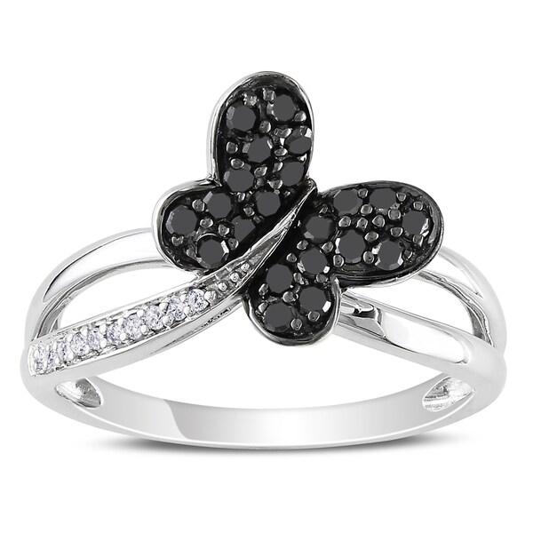 Miadora 10k White Gold 1/4ct TDW Black and White Diamond Ring (H-I, I2-I3)