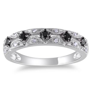 Miadora 10k White Gold 1/5ct TDW Black and White Diamond Ring (G-H, I1-I2)
