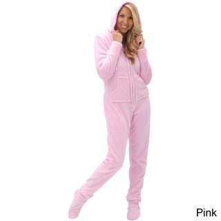 Alexander Del Rossa Women's Hooded Footed Fleece Pajamas with Zip Off Feet