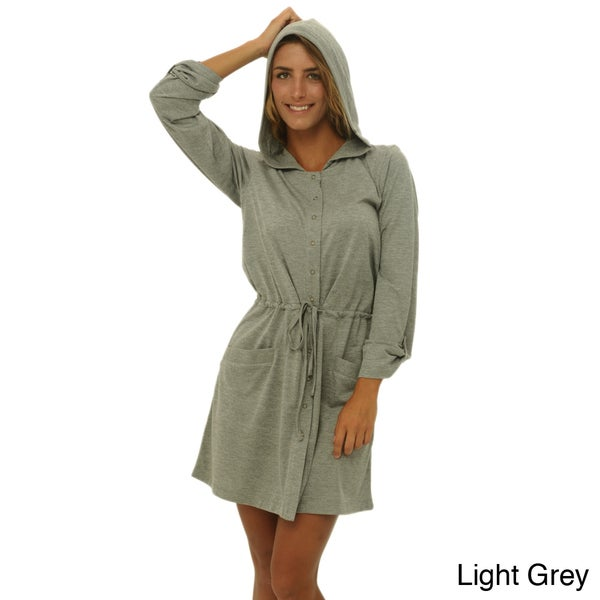 Women's Hooded Knit Robe with Button Snaps