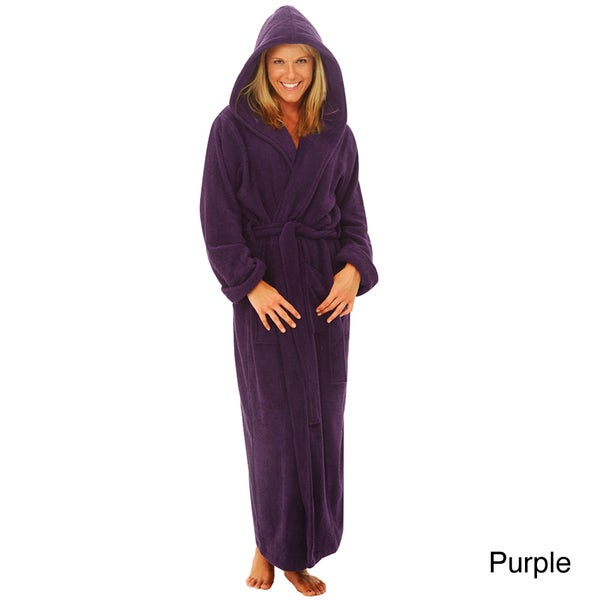 Alexander Del Rossa Women's Terry Cotton Full-length Hooded Bath Robe