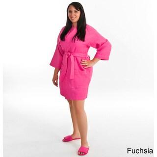 Women's Kimono Sleeve Waffle Weave Bathrobe