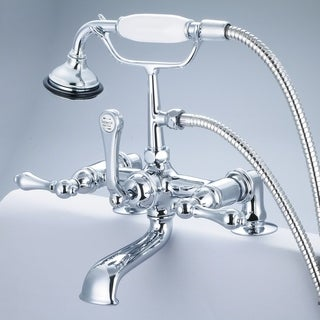 Water Creation Vintage Classic 7-inch Spread Deck Mount Tub Faucet With 2-inch Risers and Handheld Shower in Chrome Finish