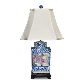 Blue/ White Famille Square Jar Porcelain Table Lamp