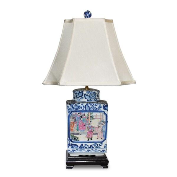 Blue/ White Famille Square Jar Porcelain Table Lamp