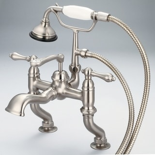 Water Creation Vintage Classic Adjustable Center Deck Mount Tub Faucet with Handheld Shower in Brushed Nickel Finish