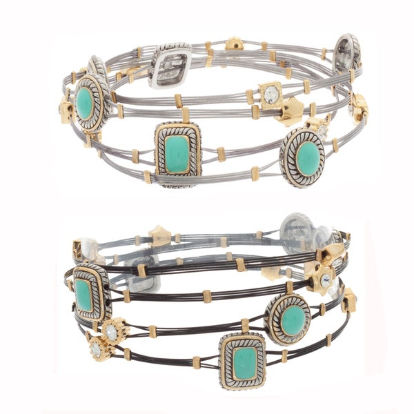 NEXTE Jewelry Turquoise Lucite and Rhinestone Cable Stack Bracelets