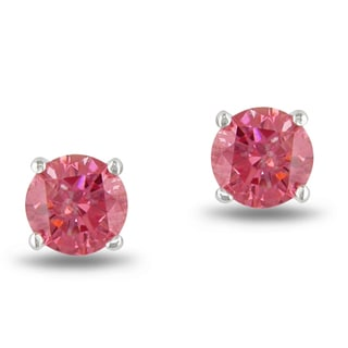 Miadora 14k White Gold 3/4ct TDW Pink Diamond Solitaire Earrings