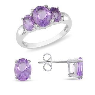 Miadora Sterling Silver Amethyst Set of Ring and Earrings