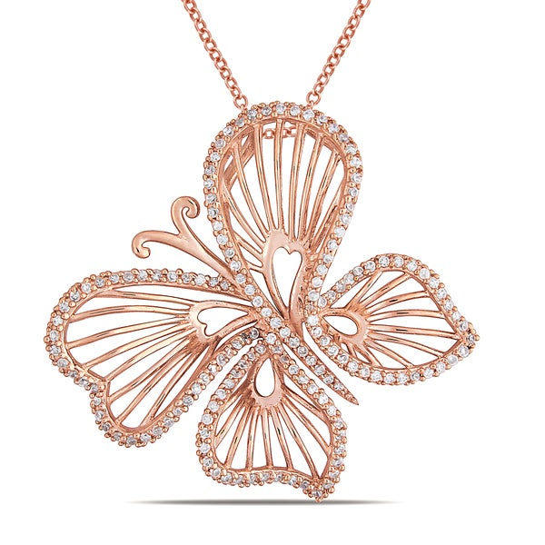Miadora Rose-plated Silver Cubic Zirconia Butterfly Necklace