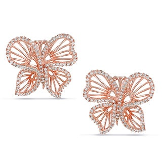 Miadora Rose-plated Silver Cubic Zirconia Butterfly Earrings
