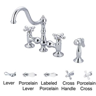 Water Creation F5-0010-01 Bridge Style Kitchen Faucet with Solid Brass Side Spray To Match