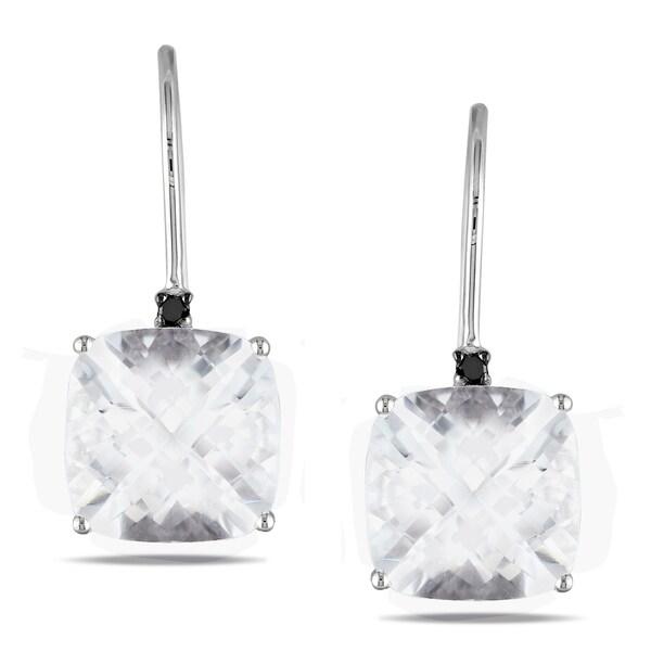 Miadora 10k White Gold White Topaz and Black Diamond Stud Earrings