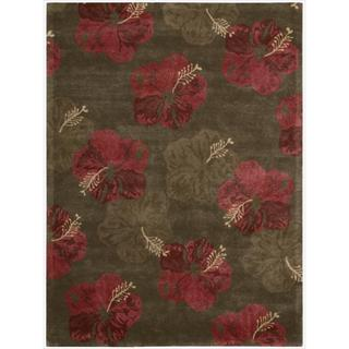Nourison Lakeside Hand-tufted Hibiscus Chocolate/Red Rug