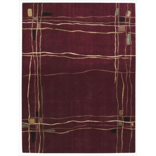 Nourison Parallels Geometric Red Rug