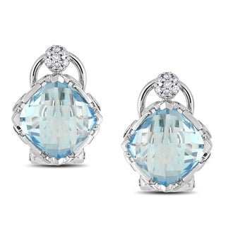 Miadora Sterling Silver Blue Topaz and Diamond Earrings (G-H, I1-I2)