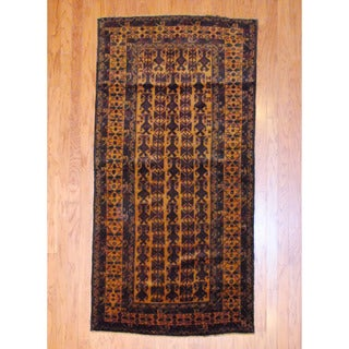 Afghan Hand-knotted Tribal Balouchi Gold/ Black Wool Rug (3'8 x 7'5)