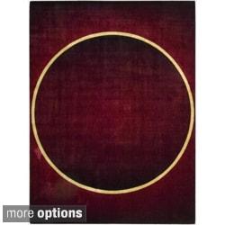 Nourison Parallels Geometric Burgundy Rug
