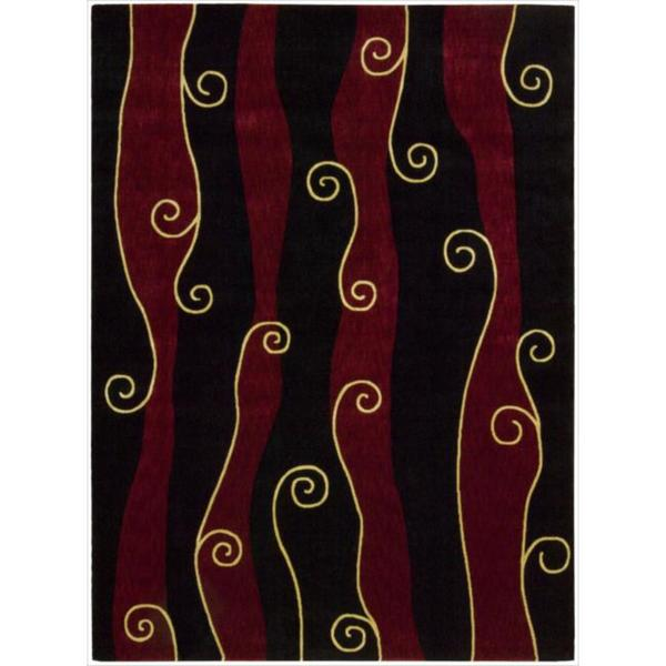 Nourison Parallels Swirl Pattern Black/Red Rug
