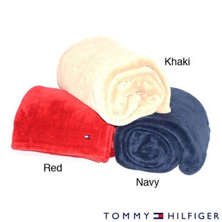 Tommy Hifliger Embroidered Fleece Throw