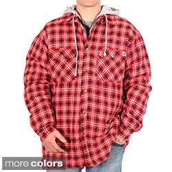 Farmall IH Men's Plaid Flannel Hooded Shirt-Jacket