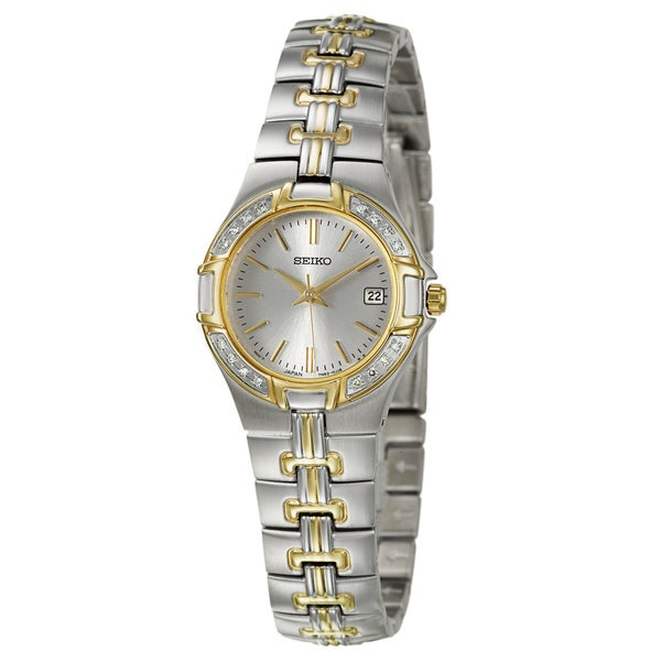 Seiko Women's 'Diamond' Stainless Steel and Yellow Goldplated Quartz Watch