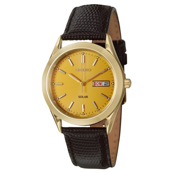 Seiko Men's 'Solar' Stainless Steel Yellow Goldplated Solar Powered Quartz Watch