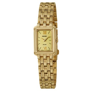 Seiko Women's 'Solar' Stainless Steel Yellow Goldplated Solar Powered Quartz Watch