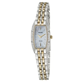 Seiko Women's 'Solar' Stainless Steel and Yellow Goldplated Solar Powered Quartz Watch