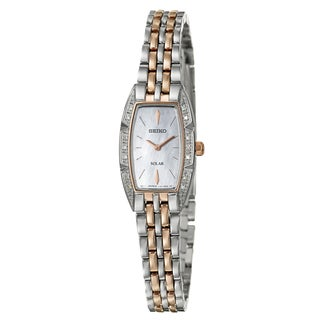 Seiko Women's 'Solar' Stainless Steel and Rose Goldplated Solar Powered Quartz Watch