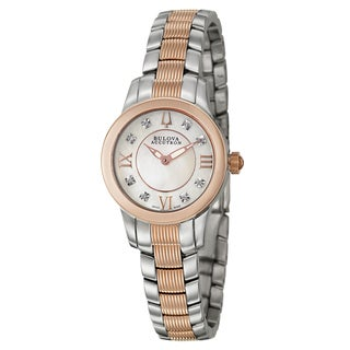 Bulova Accutron Women's 'Masella' Stainless Steel and Rose Goldplated Swiss Quartz Watch