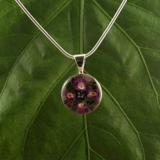 Silverplated Purple Flowers Round Pendant (Mexico)
