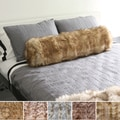 Wild Mannered Luxury Long-Hair Faux-Fur Bolster Throw Pillow