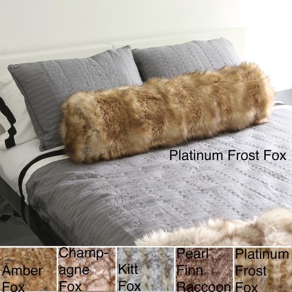Aurora Home Wild Mannered Luxury Long-Hair Faux-Fur Bolster Throw Pillow