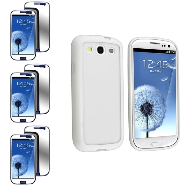BasAcc Clear Case with White Trim/Mirror Screen Protector for Samsung© Galaxy S3